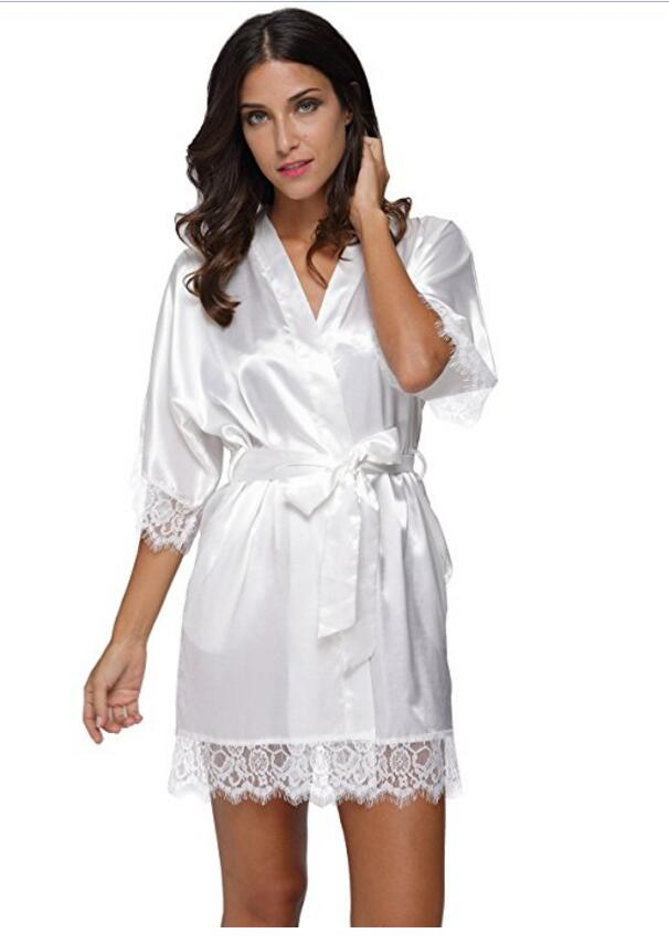 Plus Size Lace Patchwork Bride Bridesmaids Robe Sexy Lingerie Women Silk Wedding Party Kimono Robes Nightgown Sleepwear Bathrob