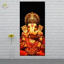 Lord Ganesh Golden Wall Art HD Prints Canvas Painting Modular Picture And Poster Decoration Home 3 PIECES