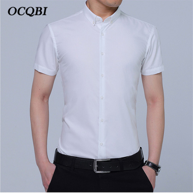 b9ffa2c6647 Plus Size 4XL 5XL Korean Style 2018 Summer Mens Smart Casual Dress Shirt  Fashion Men Slim