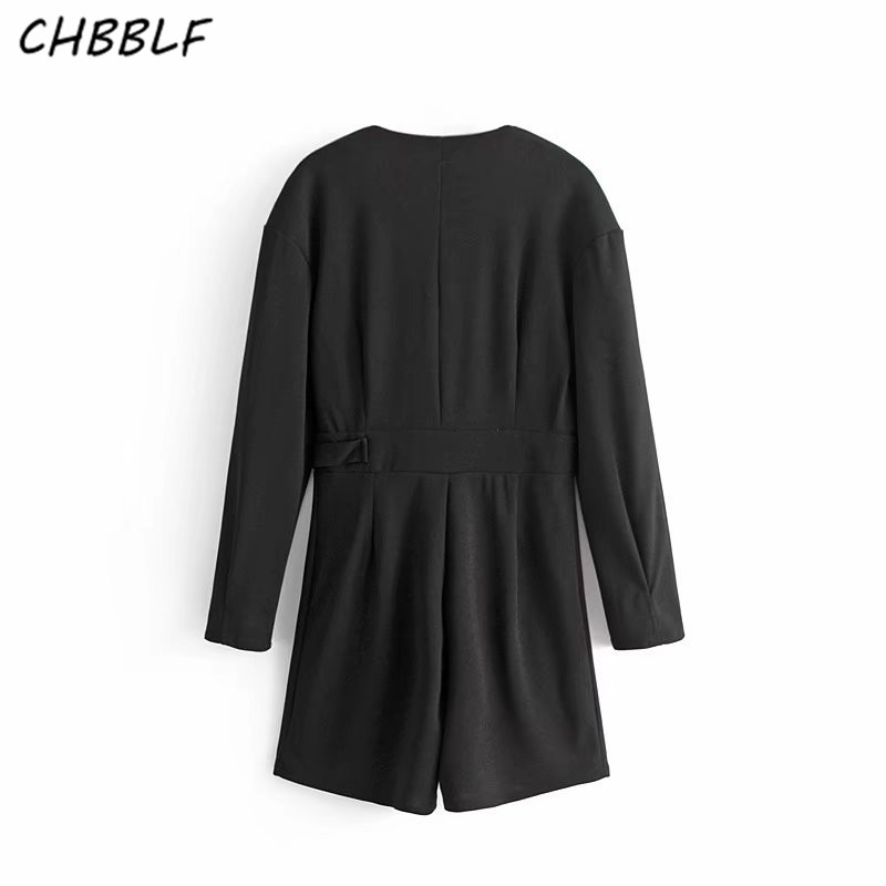 2018 New arrival fashion Cross V collar playsuits women black shorts rompers ladies casual playsuits DFT27126