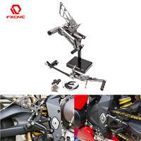 FXCNC Aluminum Motorcycle Rearsets Rear Set Foot Pegs Pedal Footrest Adjustable For Triumph DAYTONA 675R 2013 2014 2015 2016