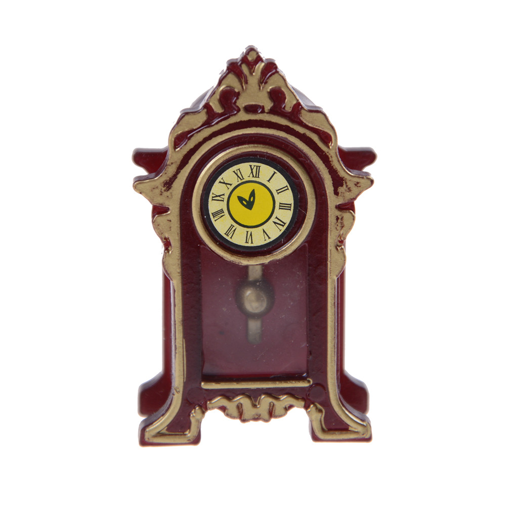 New 1:12 Dollhouse Miniature Wooden Classical Desk Clock Classic Toys Pretend Play Furniture Toys Doll House Decoration
