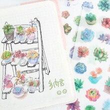 6 pcs/pack Fleshy potted plants student Stickers Set Decorative Stationery Stickers Scrapbooking DIY Diary Album Stick Label 6 pcs pack happy unicorn stickers decorative stationery craft stickers scrapbooking diy stick label