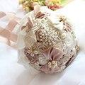 Accesorios de la boda 2016 cintas de seda ramo de perlas de diamante ramo de novia simulación rosas lujosa ramo de la boda
