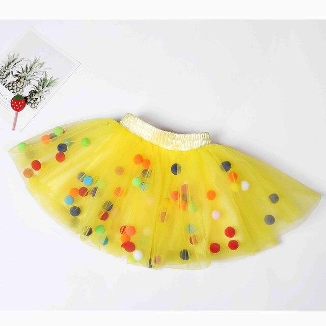 US $5.61 49% OFF|2019 letnie dziecko wielowarstwowa tiulowa spódnica tutu kolorowe Pom Pom księżniczka Mini sukienka dzieci odzież Pettiskirt