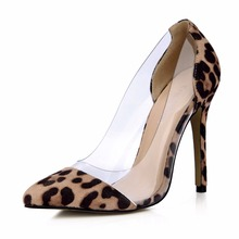 2019 Fashion New Women Zapatos De Mujer Leopard Print Transparent Pointed Toe Super High Heel Shoes Ladies Pumps 0640-H2