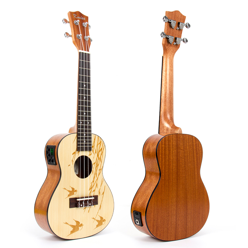 Kmise Concert Ukulele Electric Acoustic Solid Spruce Ukelele Uke 23 inch 18 Frets 4 String Hawaii Guitar acouway 21 inch soprano 23 inch concert electric ukulele uke 4 string hawaii guitar musical instrument with built in eq pickup