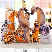 3D Printed Simulation Dog Plush Toy Cushion Stuffed Animal Puppy Pillow Cartoon Kids Doll Best Gifts