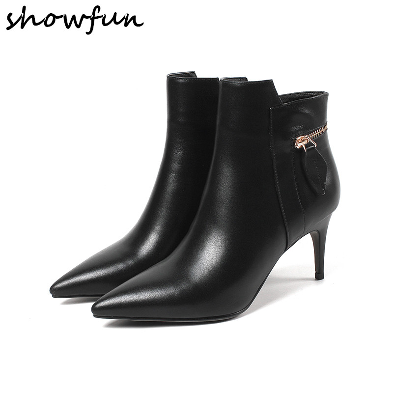 Women's Genuine Leather Zip Decoration Sexy High Heel Pointed Toe Ankle Boots Brand Designer Ladies Autumn Short Booties Shoes women s genuine leather low heel comfortable autumn ankle boots brand designer pointed toe elegant short booties shoes women hot