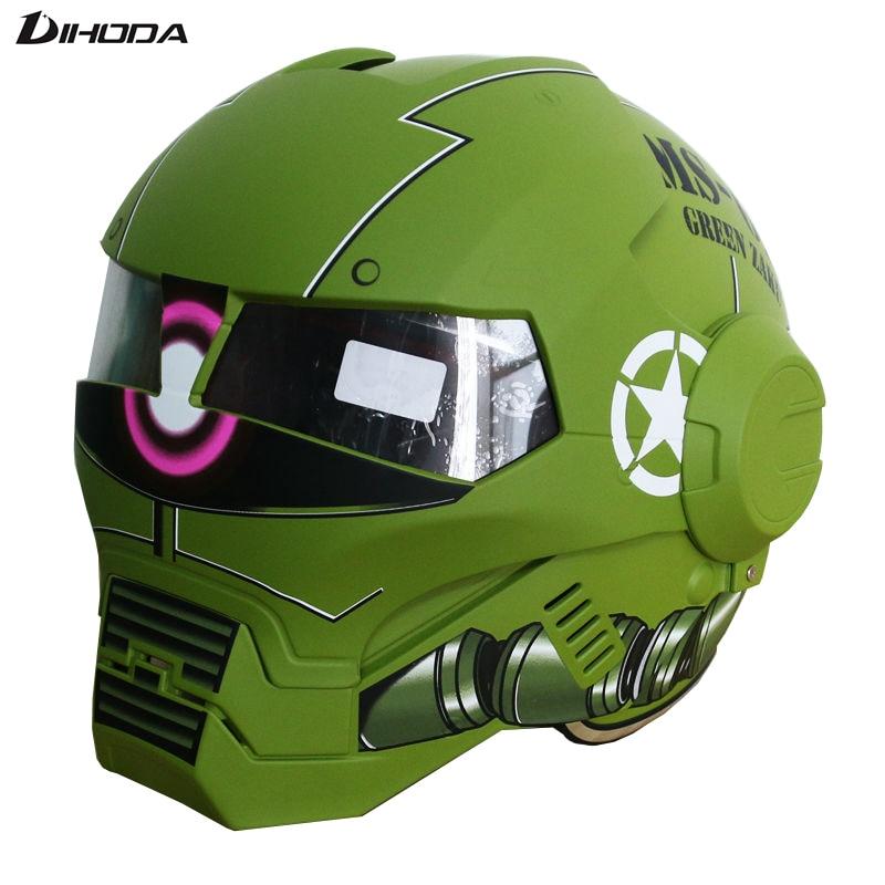 Matte / Bright Green zaku Masei IRONMAN Iron Man helmet Mens womensmotorcycle helmet half helmet open face helmet casque giro bevel snowboard helmet matte titanium mens