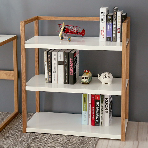 Simple Wood Bookcase Shelves Shelving Simple Modern Three Bulkhead