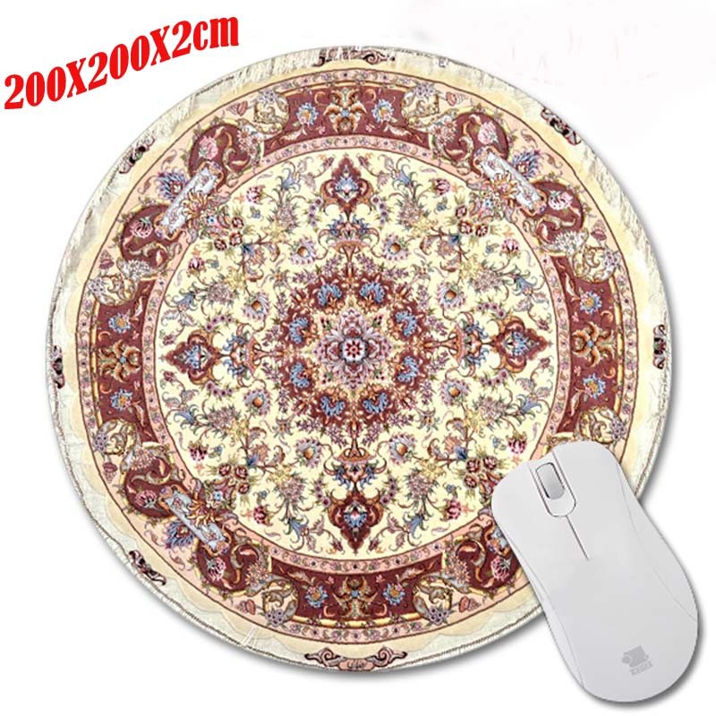 2017 Hot Sell Print Design Anti-slip New Arrival Carpet style Customized Circular Mouse Pad Computer PC Nice Gaming