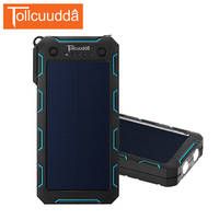 TOLLCUUDDA 15000mAh Portable External Battery Pack Solar Power Bank Dual USB Interface With Flashlight For Outdoor