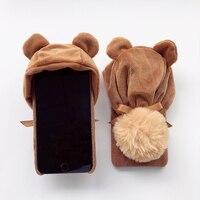 겨울 봉제 모자 전화