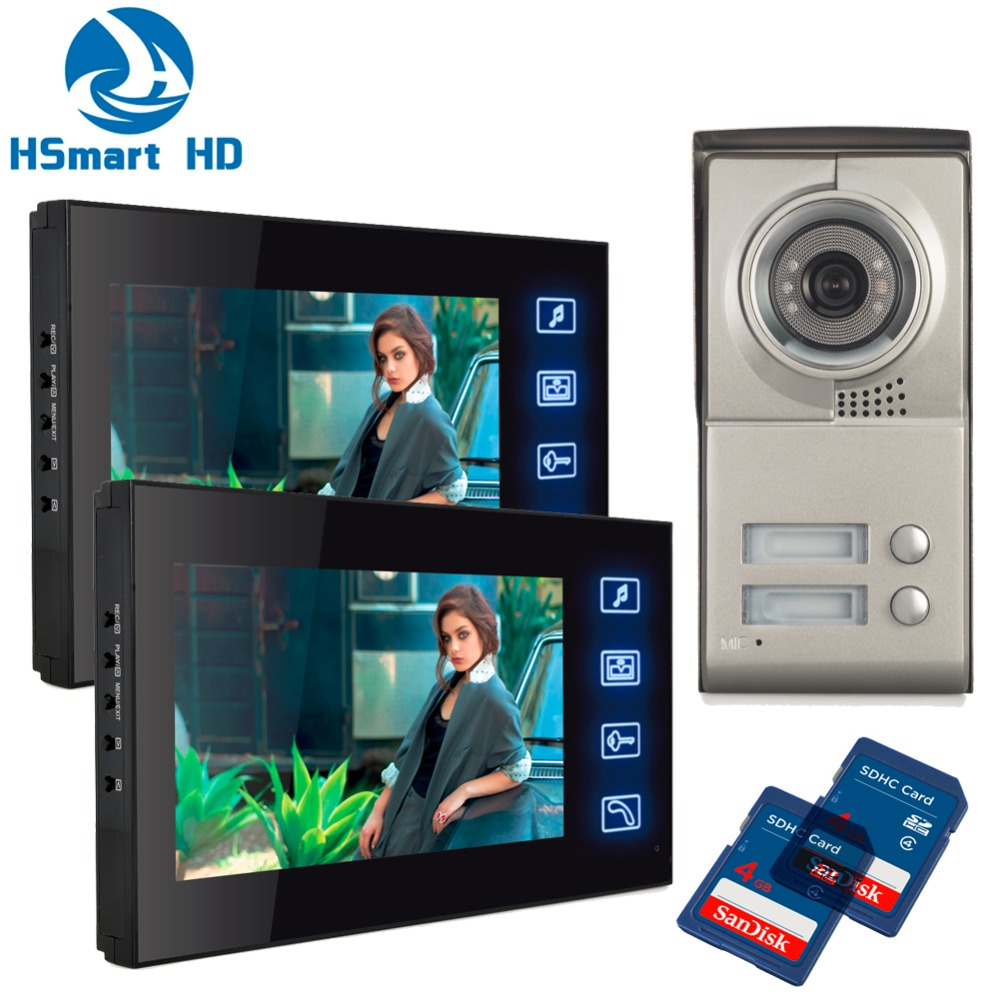 2 Unit 7inch Touch key SD Card video recoding Video Intercom Apartment Door Phone Camera Apartment 2 Unit Intercom Entry System