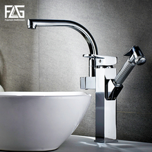 FLG kitchen Faucets Chrome rotatable pull out water mixer flexible sink tap armatur