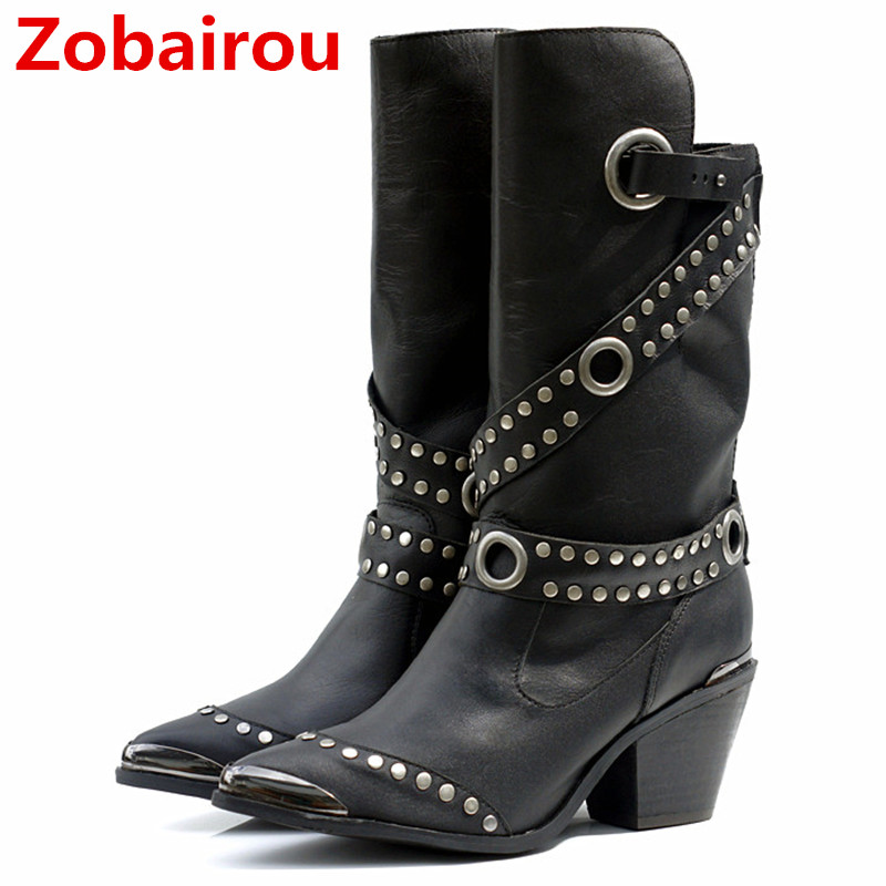 Zobairou Fashion Studded Black Brown Leather Motorcycle Rain Boots Combat Punk Ankle Shoes Woman Biker Cowboy Boots