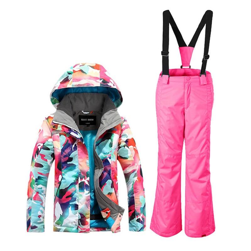 GSOU SNOW combinaison de Ski enfant couleur Camouflage fille combinaison de Ski coupe-vent chaud imperméable respirant veste de Ski + pantalon de Ski