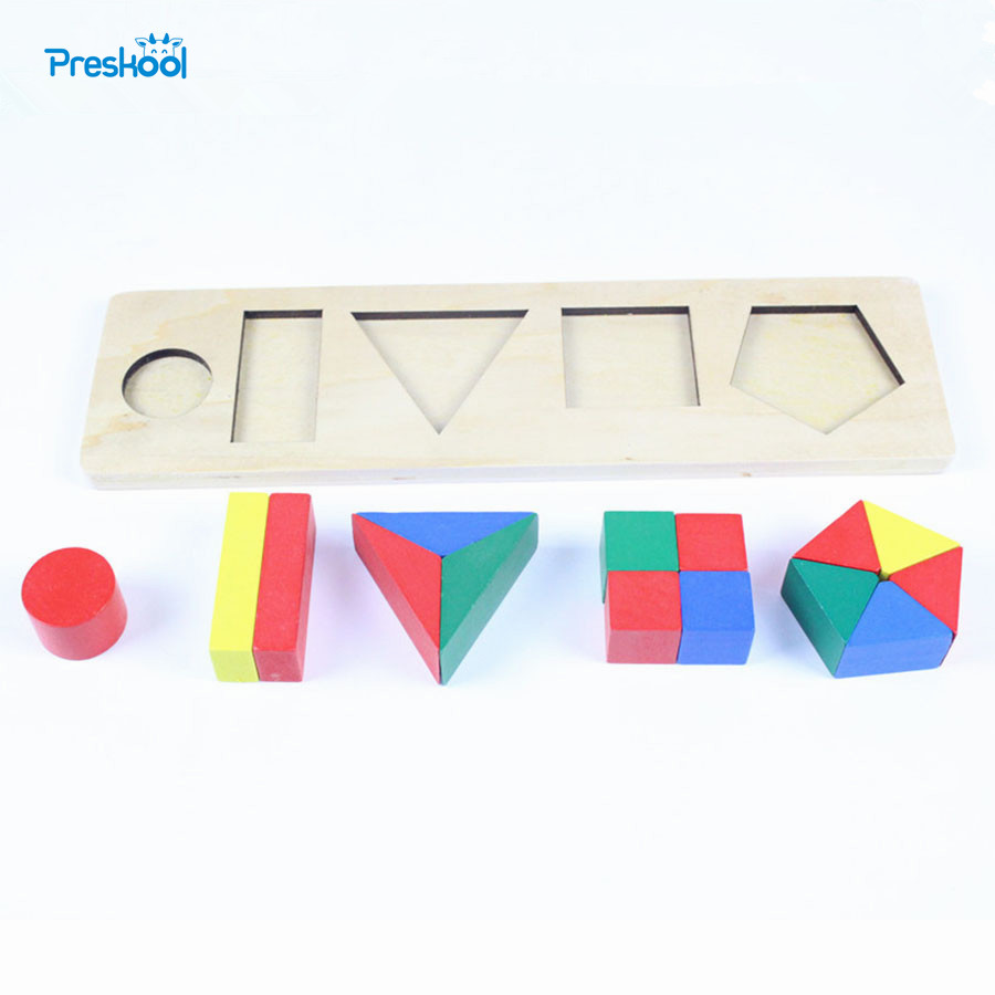 Baby Toy Montessori Educational Wooden Toy One Set Geometric Cylinder Development Sensorial Early Childhood Education Preschool new wooden montessori family version brown stair width 0 7 cm to 7 cm early childhood education preschool training baby gifts
