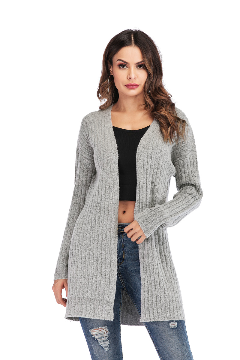 Fall Winter Cute Knitted Middle Long Ribbed Cardigan Dress for Women Kawaii Ladies Knit Drop Shoulder Sweater Coat Oversized S-L 26