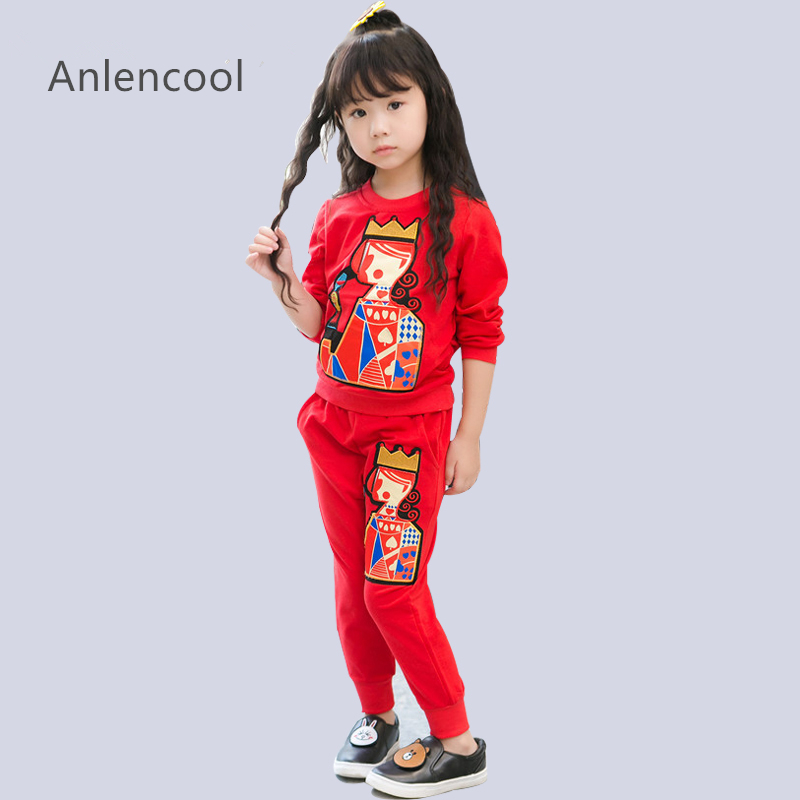Anlencool Girls Clothing Sets Winter  Active Autumn Kids Clothes Long Sleeved Cartoon Print Sweatshirts+Pants 2pcs Suits