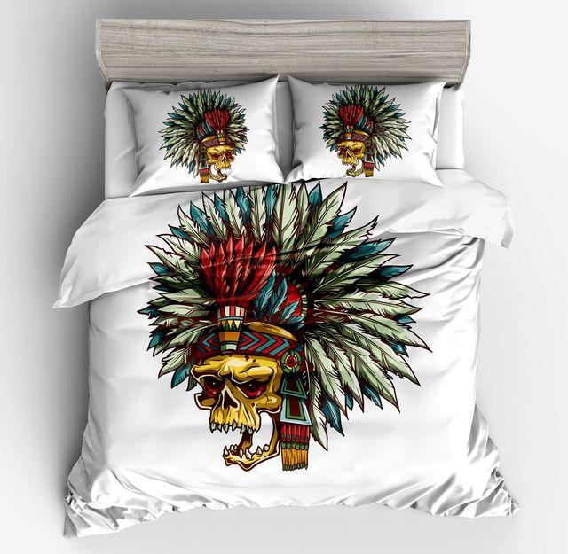 fashion sugar skull bedding set floral halloween bed duvet cover set white black modern style twin