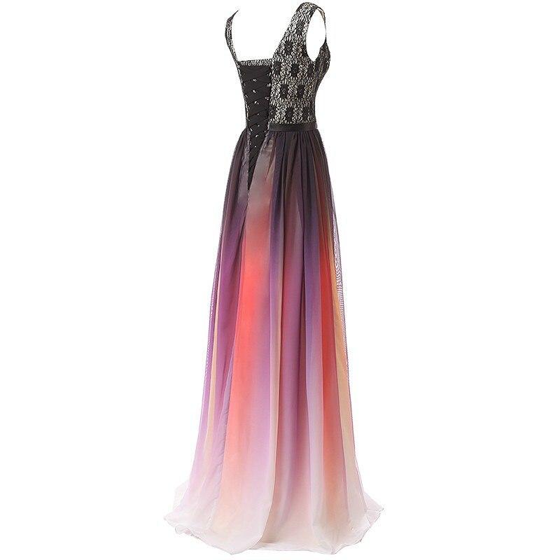 Col en v Ombre robes de soirée Vestido Longo perlée robe de bal 2019 dégradé en mousseline de soie bal longue élégante robe pour femme de grande taille - 2