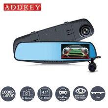 ADDKEY Автомобильный Видеорегистратор Камера Full HD 1080 P 4.3 Дюймов Зеркало Заднего Вида Цифровой Видео Рекордер с Двумя Объективами Registratory Видеокамера тире cam