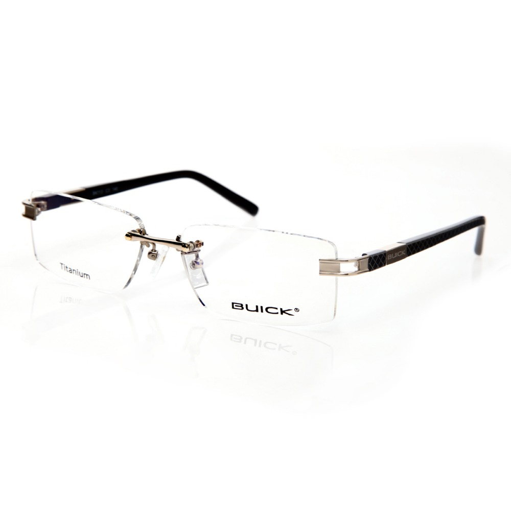 buick brand designer titanium rimless frame glasses fashion men clear lens eyeglasses frames retro myopia glass