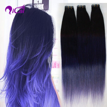 Tape In Human Hair Extensions 7A Straight Virgin Remy Brazilian Tape Extensions 40pcs Ombre Purple Skin Weft Hair Extensions