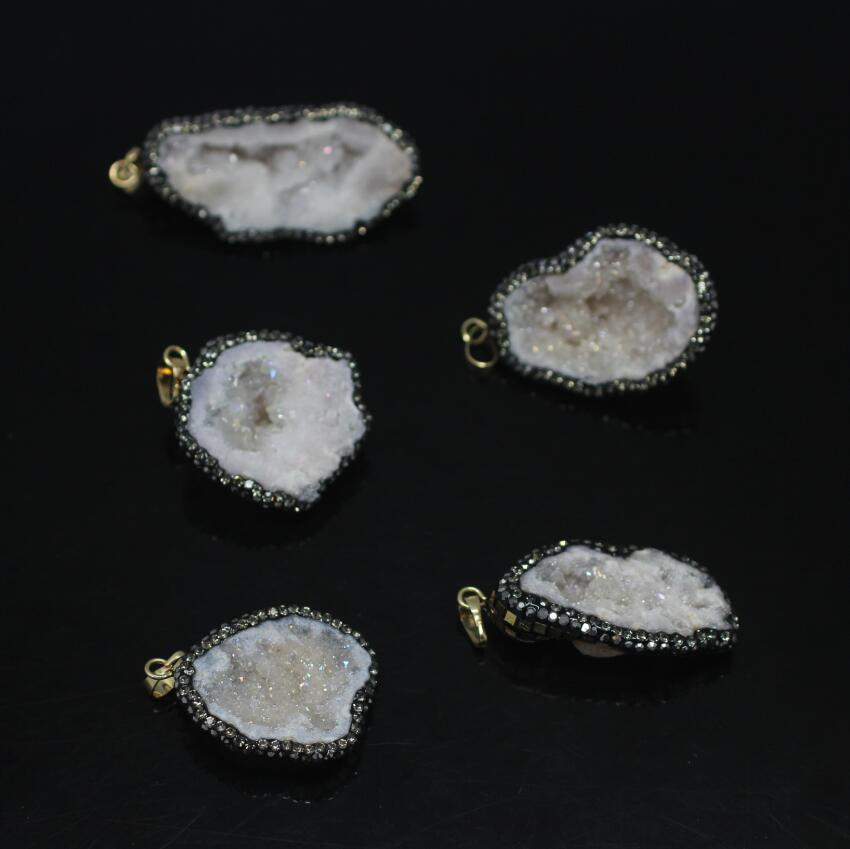 5PCS Rough Natural Druzy Ag ate Geode Nuggets Pendant,Plated Gold Foil Rhinestones Drusy ...