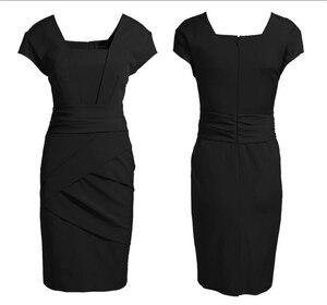 Image 2 - حجم كبير XXXL أنيقة OL الزي ضئيلة فستان كيت فستان إنجلترا النمط الأوروبي الإناث الموضة بلون