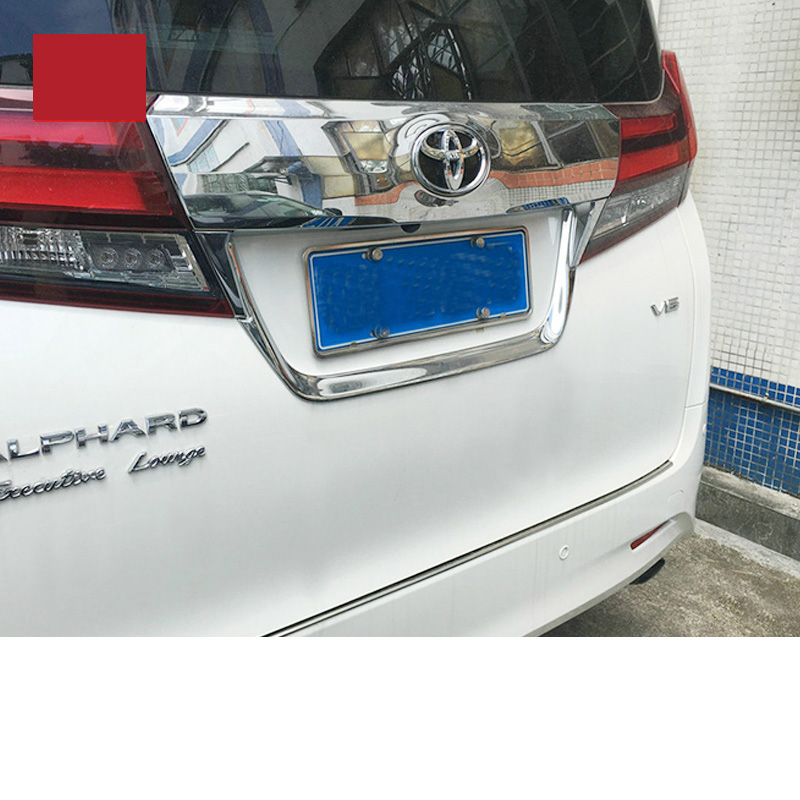 lsrtw2017 car styling abs car taildoor License plate number trim for toyota alphard toyota vellfire 2015 2016 2017 2018