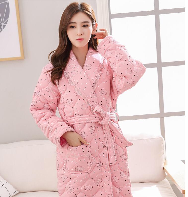 100% coton Robe de haute qualité hiver peignoir femmes pyjamas chemise de nuit grande taille Kimono Robe de chambre