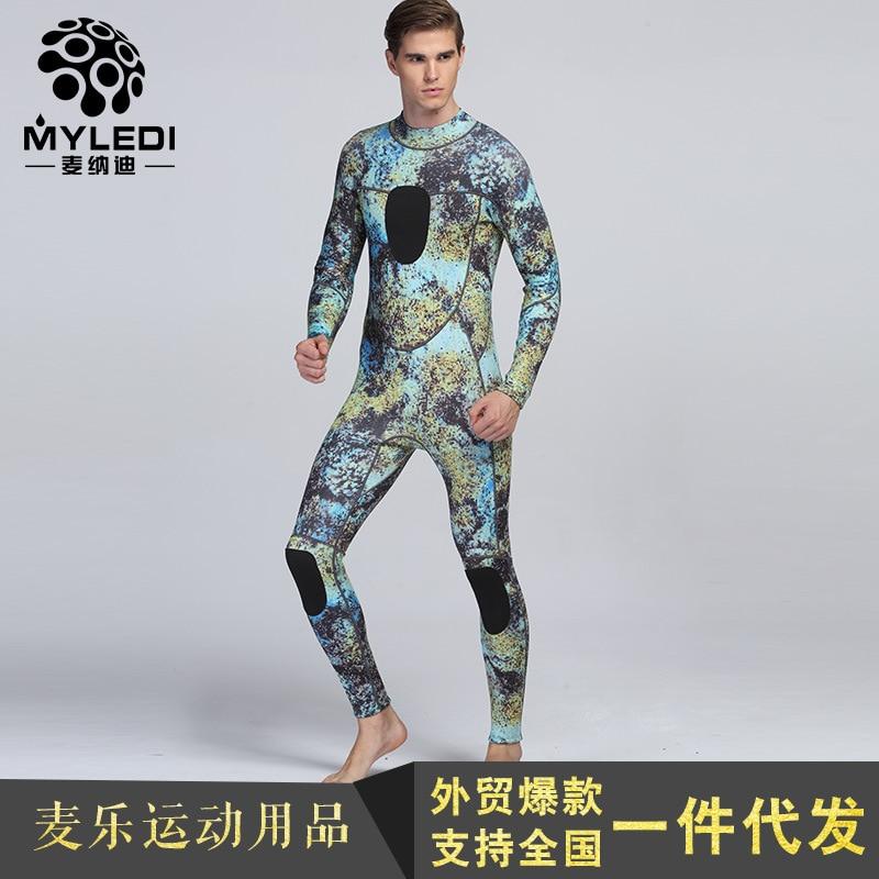 Wheat Lenan 3mm long sleeved pants Siamese Camo surfing sportswear warm waterproof diving suit 109 wheat