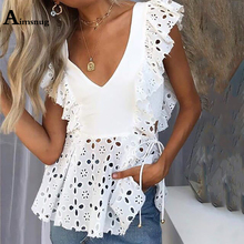 Aimsnug 2019 New Guipure Lace White Female Blouse OL Summer V Neck Solid Raglan Sleeve Casual Beach Womens Tops And Blouses raglan sleeve knot side blouse