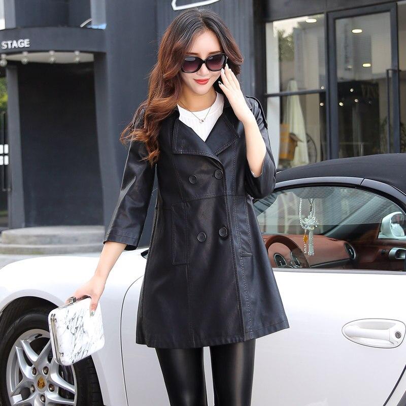 333227a73 € 35.22 10% de réduction|Veste en cuir femmes automne hiver Faux cuir  vestes dame Long design moto manteau noir vert bleu ciel Trench coat 6706  ...