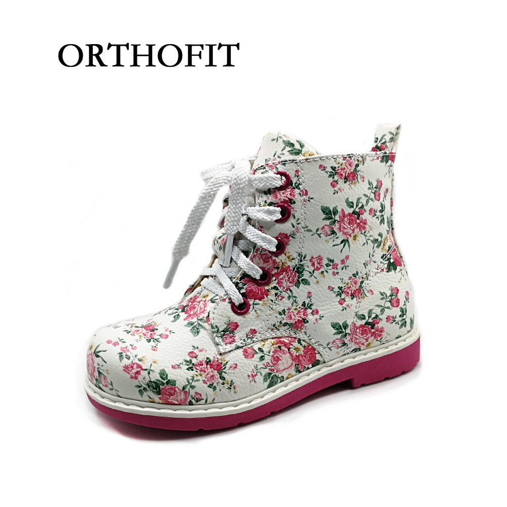 2018 Fashion floral pu leather casual shoes for girls children lace up orthopedic boots baby spring warm winter shoes