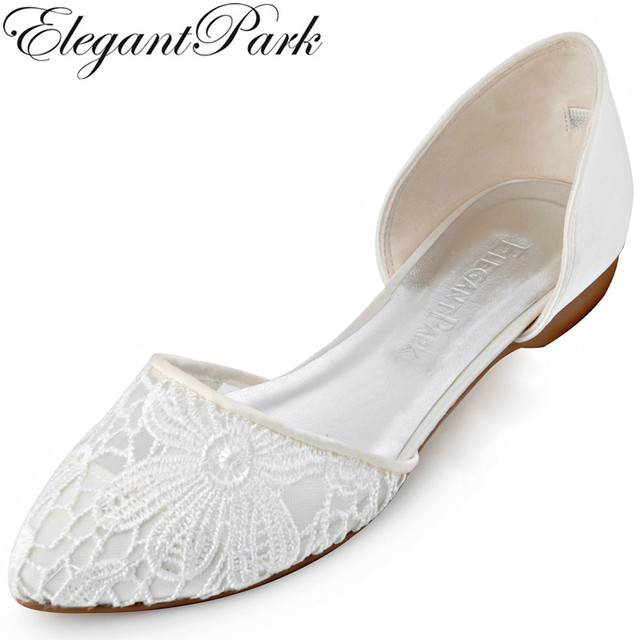 Women Lace Wedding Flats Ivory Pointed Toe Two Pieces Comfortable Ballets Bride Lady Prom Party Bridal
