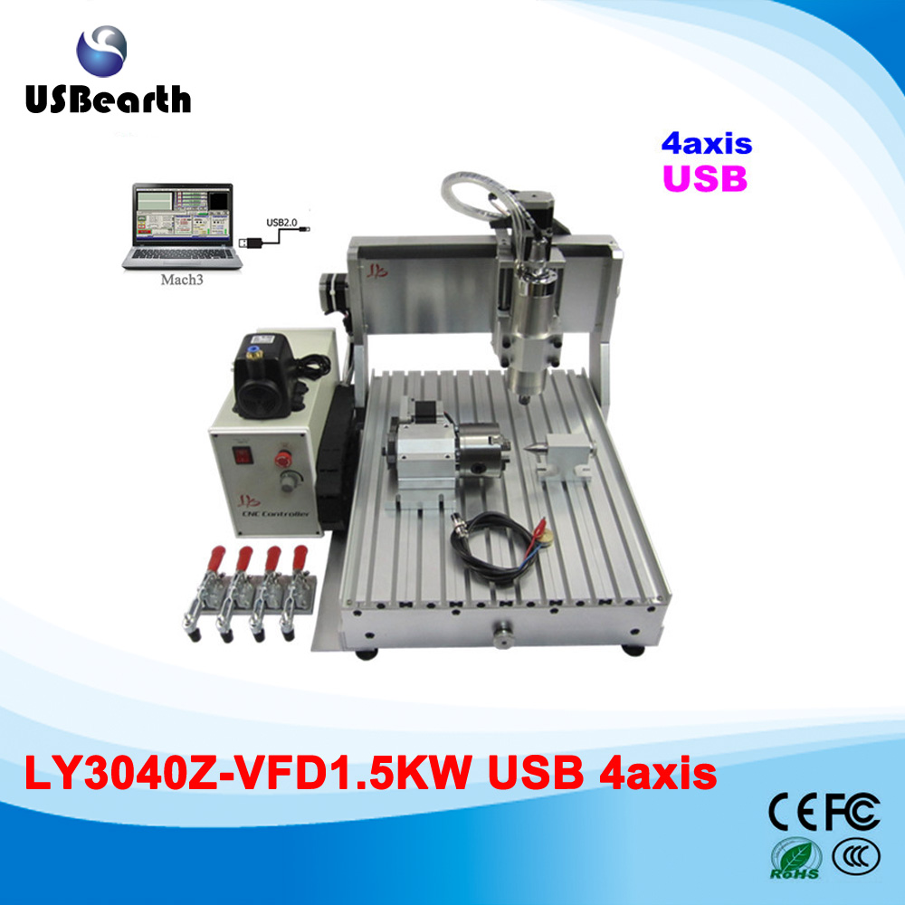 Russia tax free CNC woodworking carving machine,4 axis CNC router 3040 Z-S with limit switch 1500W spindle for aluminum multifunctional cnc router cnc carving machine for aluminum with heavy duty