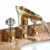 Luxury crystal dual handle solid brass copper golden Basin faucet Gold Bathroom cabinet Hot and cold water Waterfall faucet tap