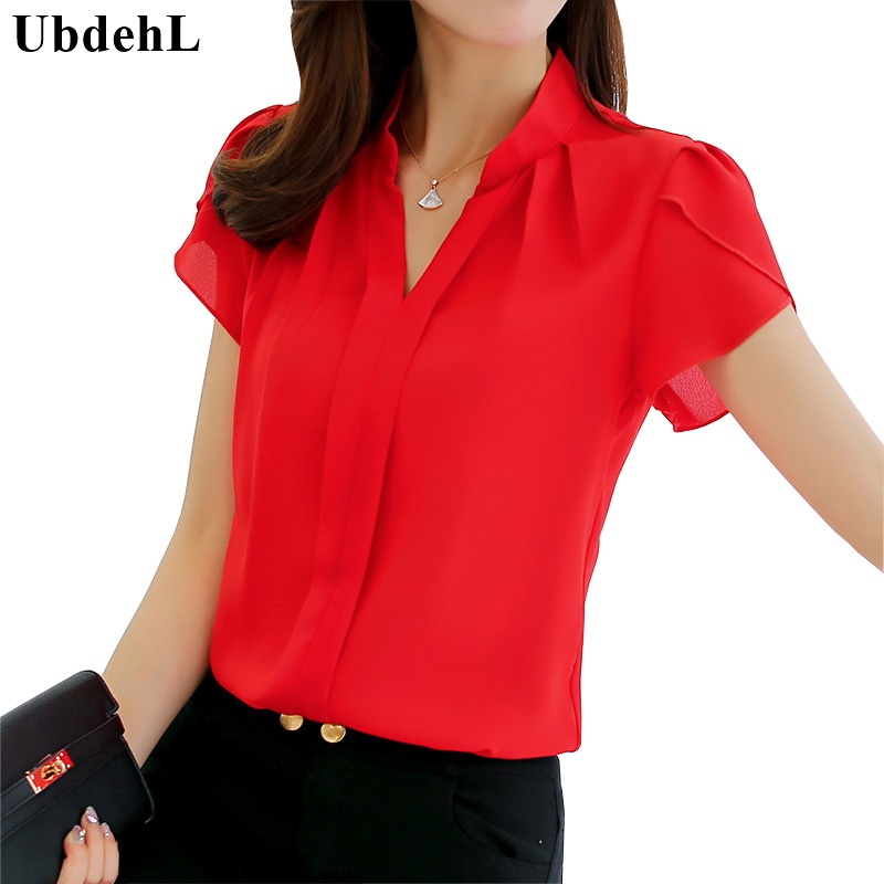 UbdehL Brand new women blouse shirt short sleeve V neck fashion white red pink blue summer autumn female clothing korean tops