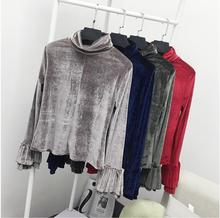 yomrzl A343 new arrival spring and autumn daily women's t-shirt pleuche long sleeve top flare sleeve shirt