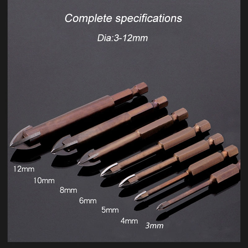 JUSTINLAU Tungsten Carbide Glass Drill Bit Set Alloy Carbide Point With 4 Cutting Edges Tile & Glass Cross Spear Head Drill Bits