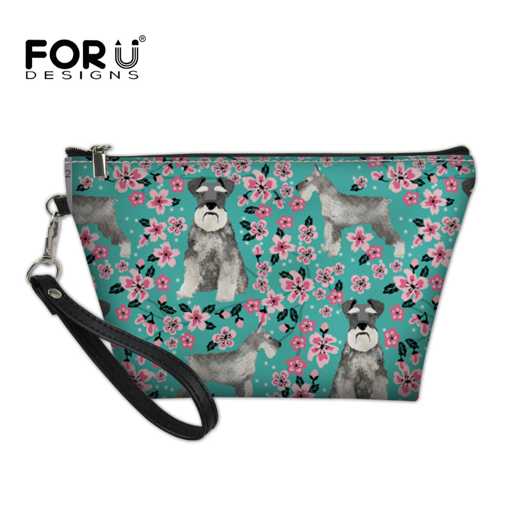 FORUDESIGNS Women Cosmetic Bag Schnauzer Flower Printing Female Makeup Case Ladies Toiletry Small Purse Pouch Travel Necessarie