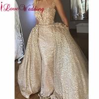 ILoveWedding платья для выпускного вечера 2019 пикантные тонкие бретельки золотые блестки труба со съемной юбкой вечернее платье для выпускного ве