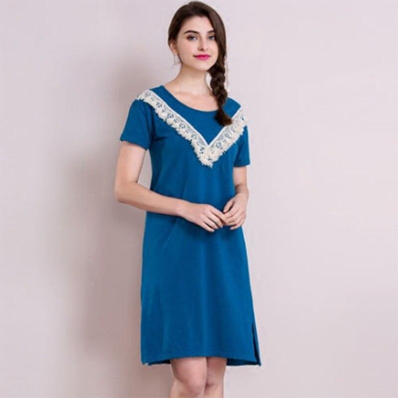 2016 New Women Casual Nightwear 5 Colors Plus Big Size Navy Blue Cotton Nightgown Sleepwear Dress G-String Free Shipping AP349
