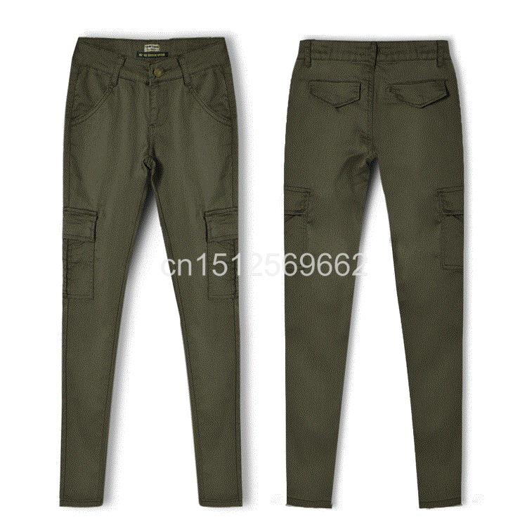 Army Green Jeans Women 8
