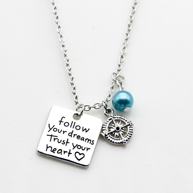 Follow Your Dream Trust Your Heart Engraved With Compass Positive