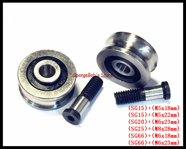 1-2set/Lot  SG15 SG20 SG25 SG66 + M5 M6 M8 Screw Bolts Bearing Steel Pulley Ball Bearings Track Guide Roller Bearing